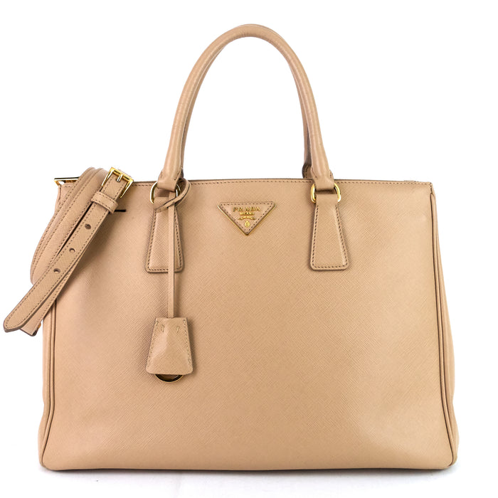 Galleria Double Zip Medium Saffiano Leather Tote Bag