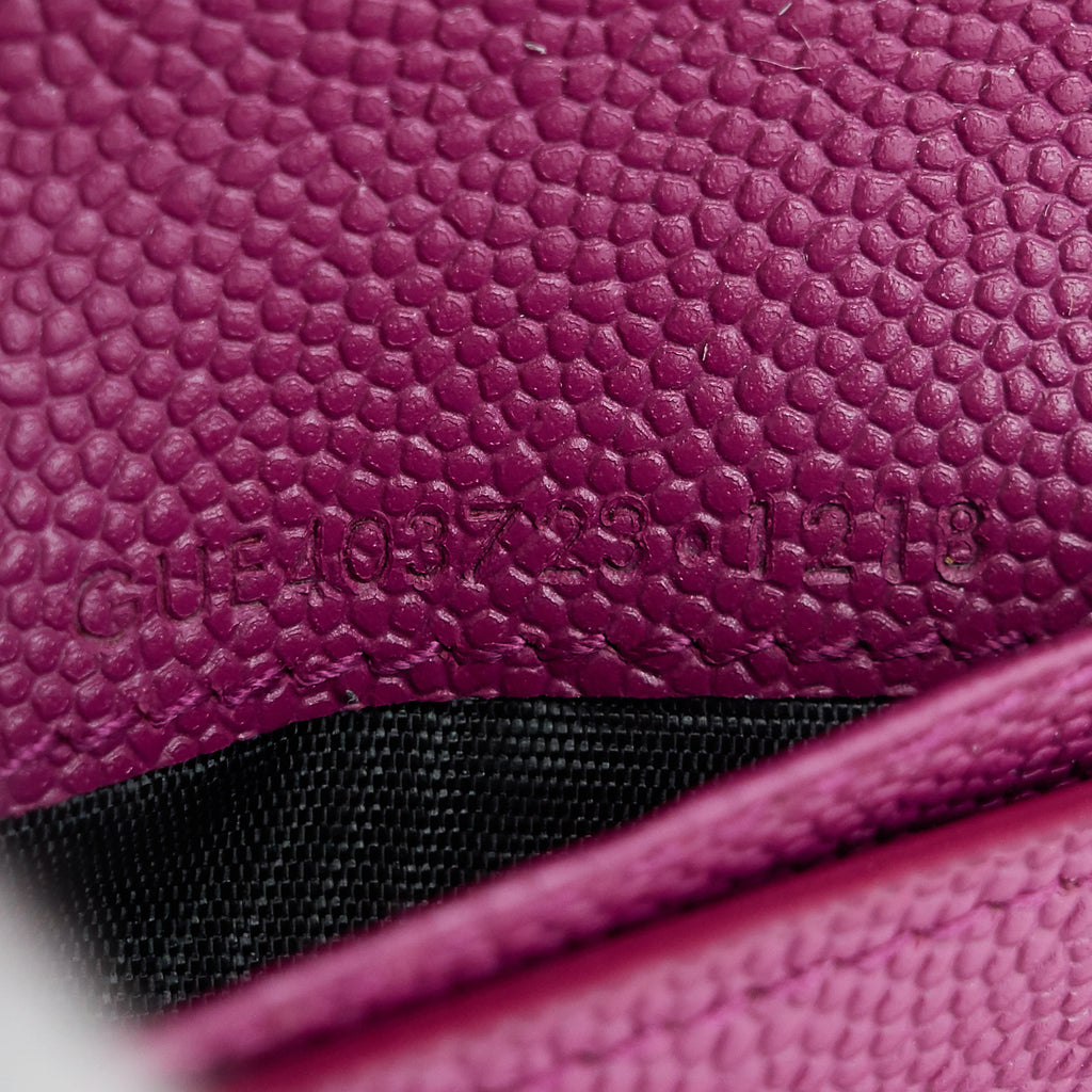 Saint Laurent Compact Grain de Poudre Embossed Leather Zip Around Wallet