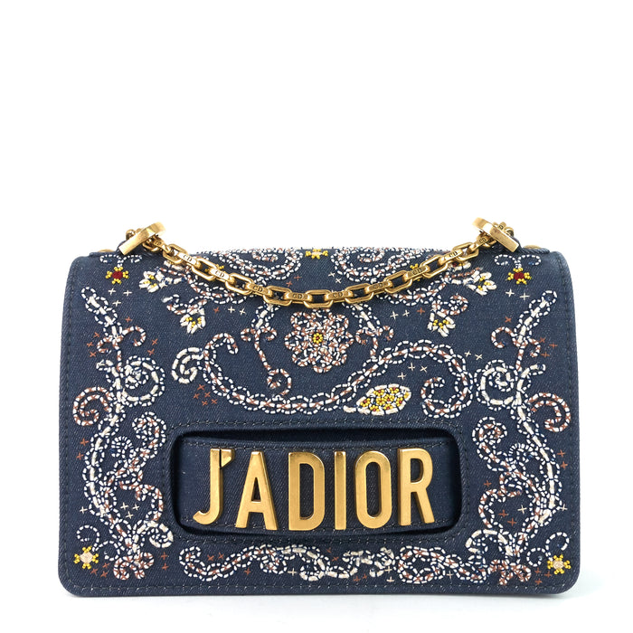 J'Adior Medium Embroidered Denim Flap Bag