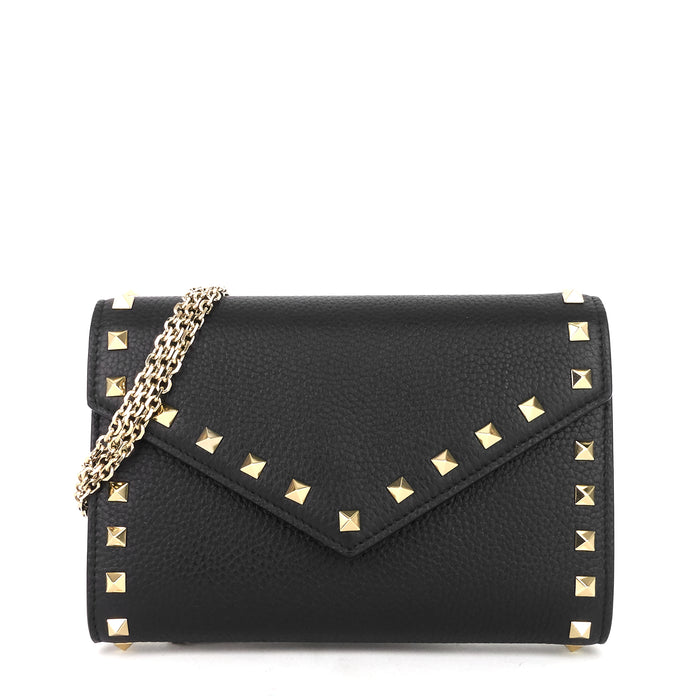 Rockstud Calf Leather Wallet on Chain