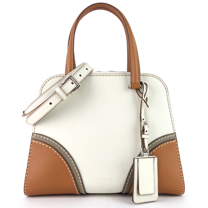 Three-Tone Vitello Daino Leather Satchel Bag