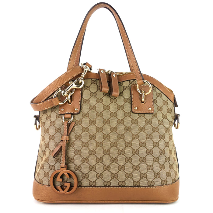 GG Charm Medium GG Canvas Dome Bag