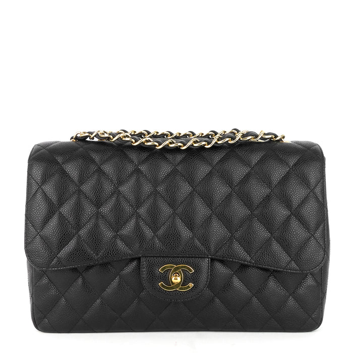 Classic Single Flap Jumbo Caviar Leather Bag