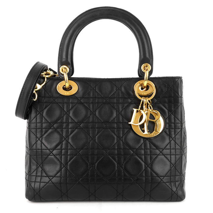 Lady Dior Medium Lambskin Leather Bag
