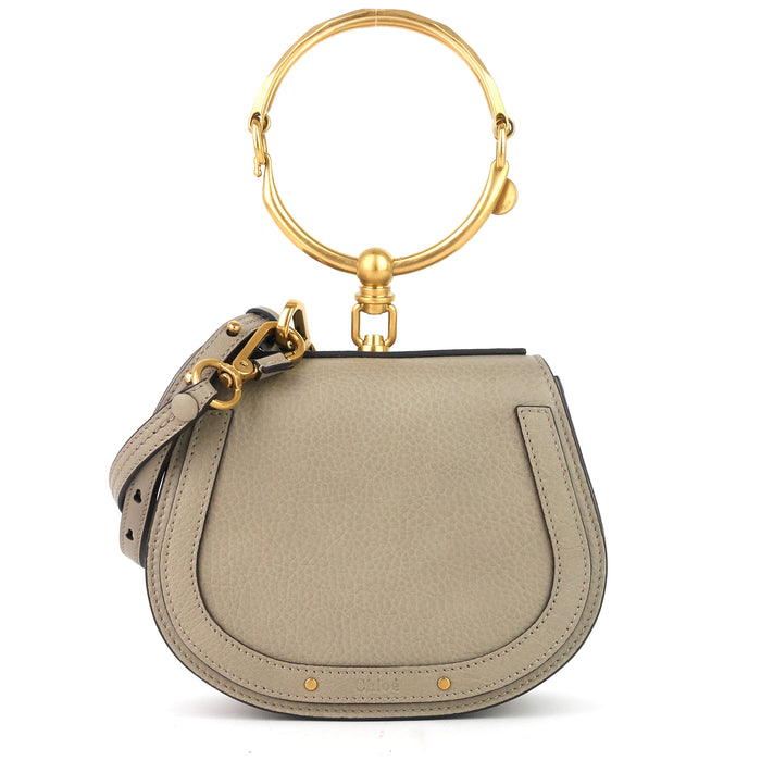 Nile Small Leather and Suede Bracelet Bag