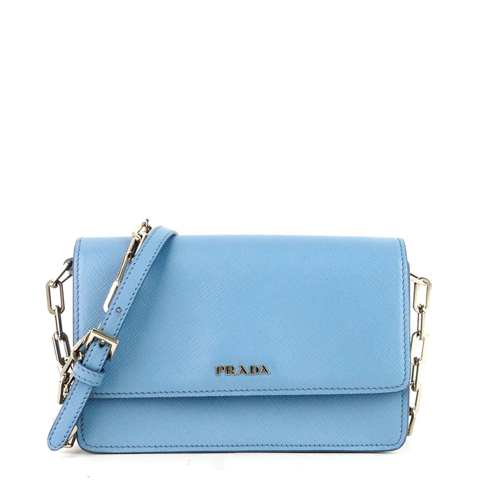 Chain Crossbody Saffiano Leather Wallet