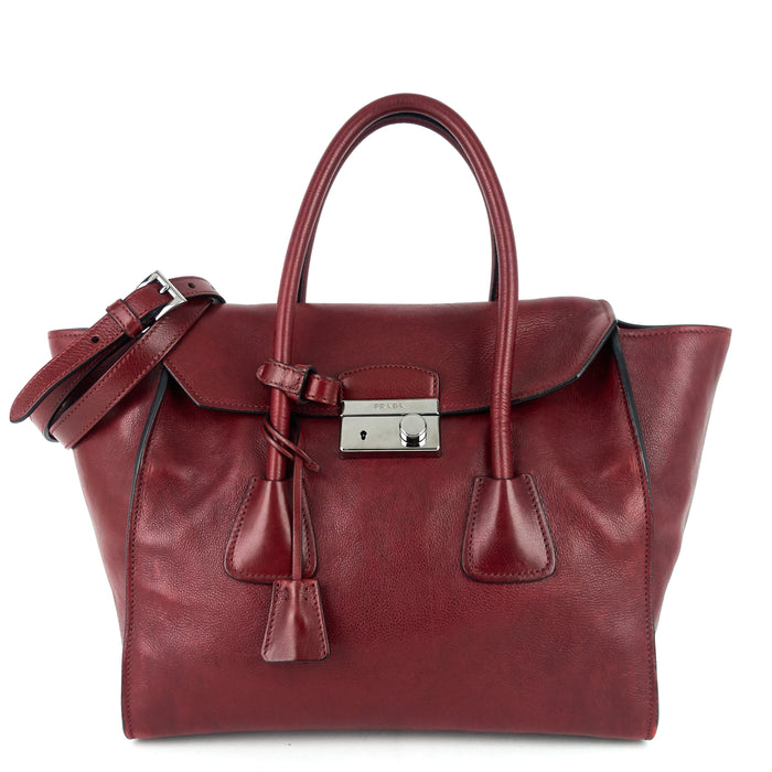 Twin Pocket Large Glace Calf Leather Tote Bag