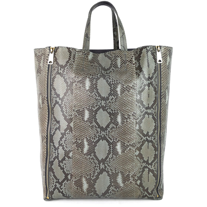 Vertical Gusset Cabas Python Leather Bag