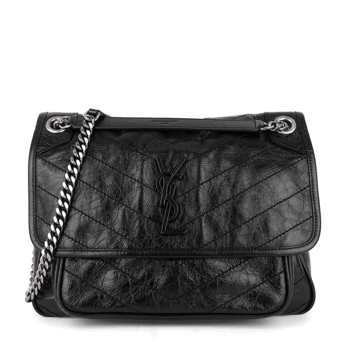 Niki Medium Crinkled Leather Chain Bag