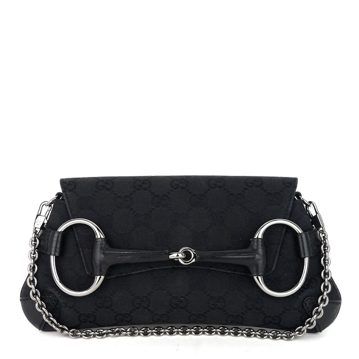 GG Canvas Horsebit Chain Clutch Bag
