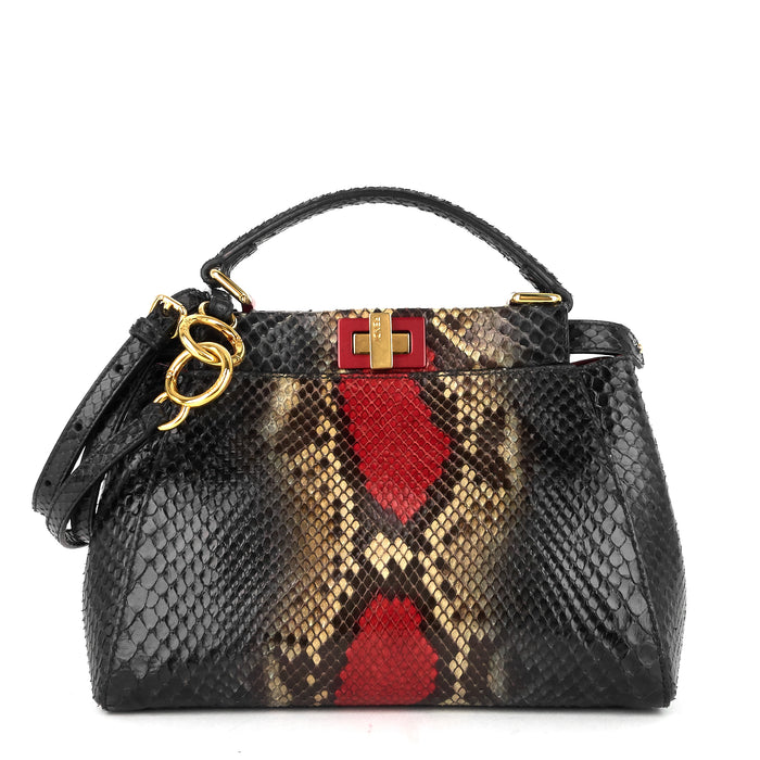 Peekaboo Mini Snakeskin Handbag with Strap