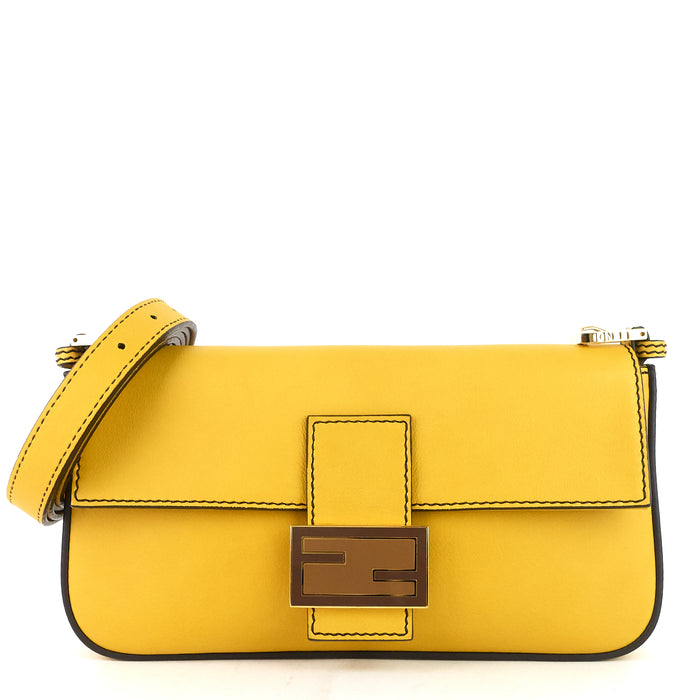 Baguette Leather FF Clasp Shoulder Bag