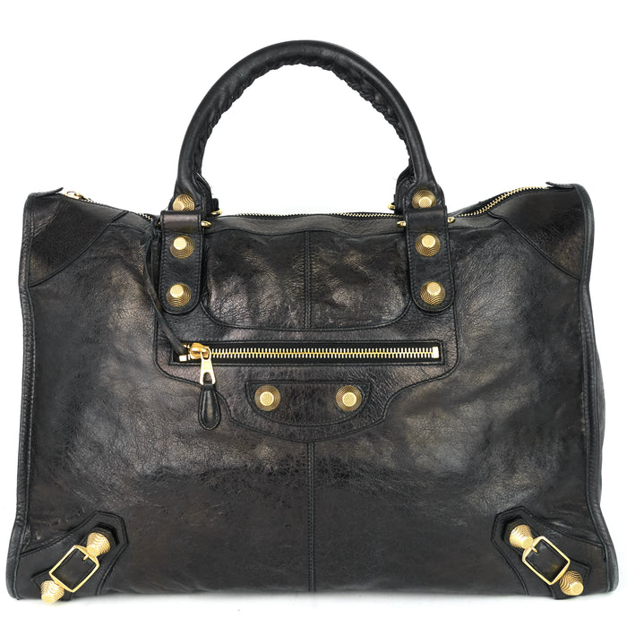 Giant Weekender Distressed Agneau Leather Bag