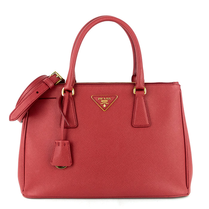 Galleria Double Zip Small Saffiano Leather Tote Bag