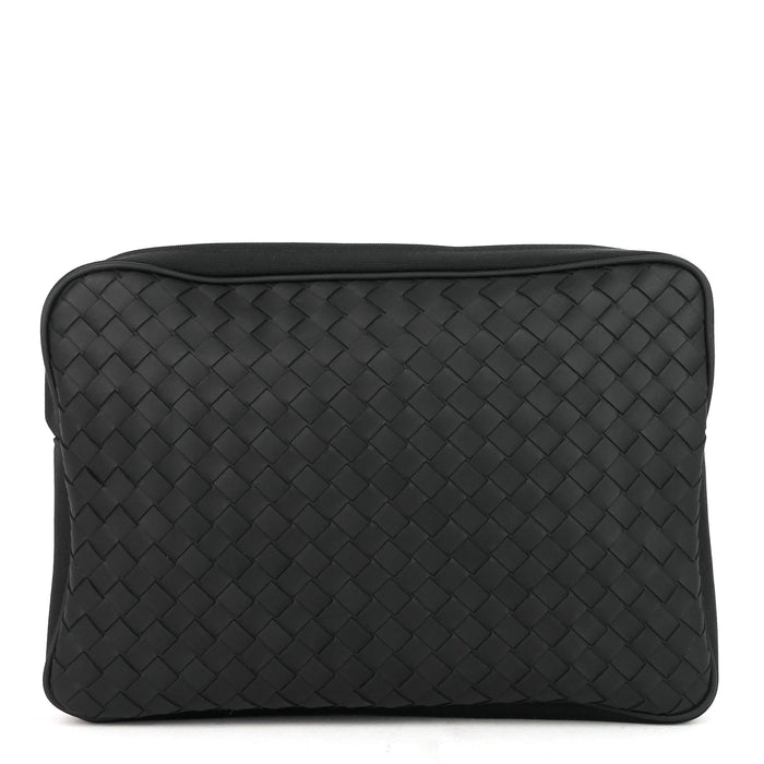 Intrecciato Leather and Nylon Pouch