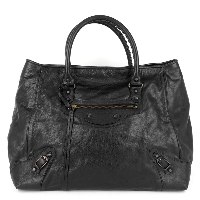Sunday Large Lambskin Leather Tote Bag