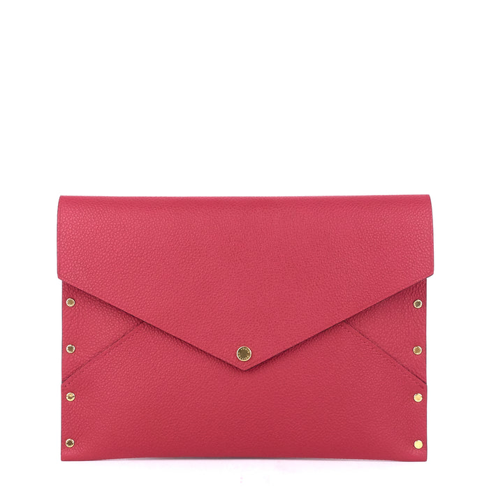 Enveloppe MM Rivets Grained Leather Clutch Bag