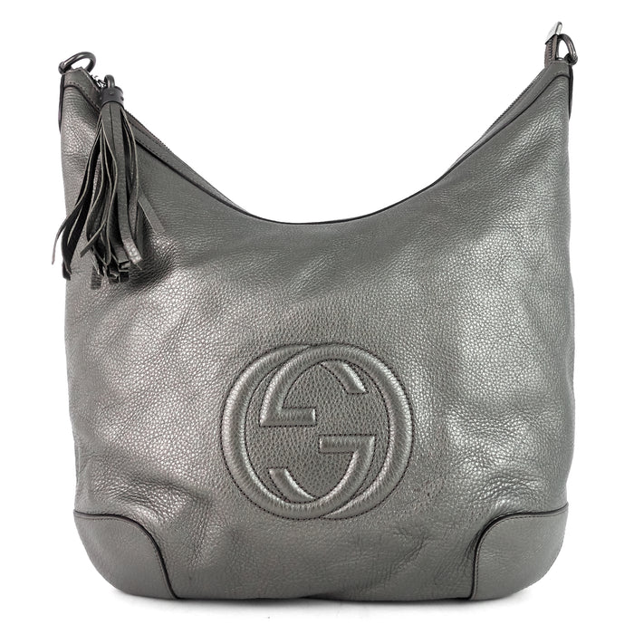 Soho Chain Pebbled Calf Leather Hobo Bag