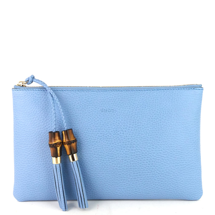 Calf Leather Bamboo Tassel Zip Clutch Bag