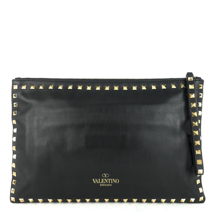 Stud Lambskin Leather Clutch Bag