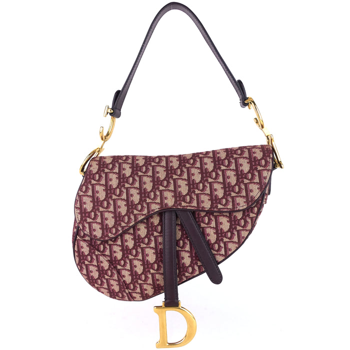 Red Oblique Jacquard Saddle Bag