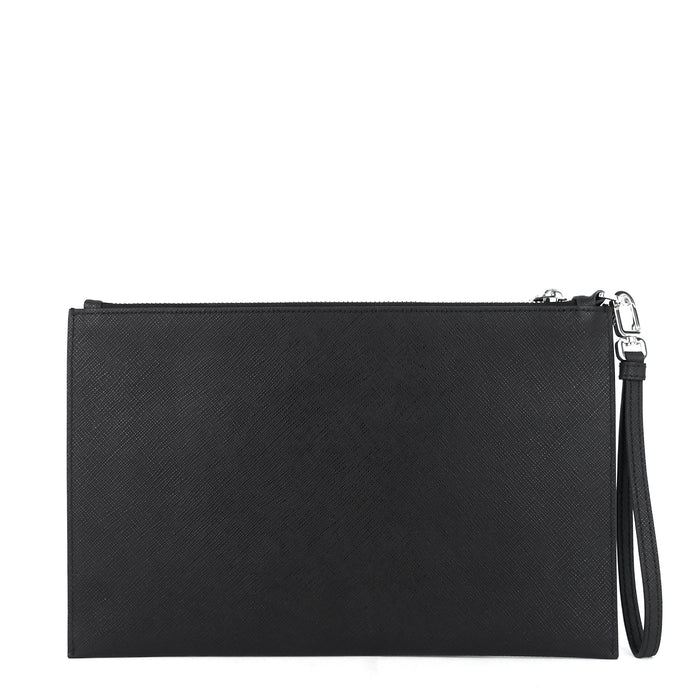 Saffiano Leather Wristlet Clutch Bag