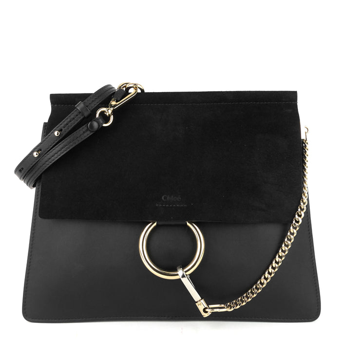 Faye Medium Leather and Suede Bag