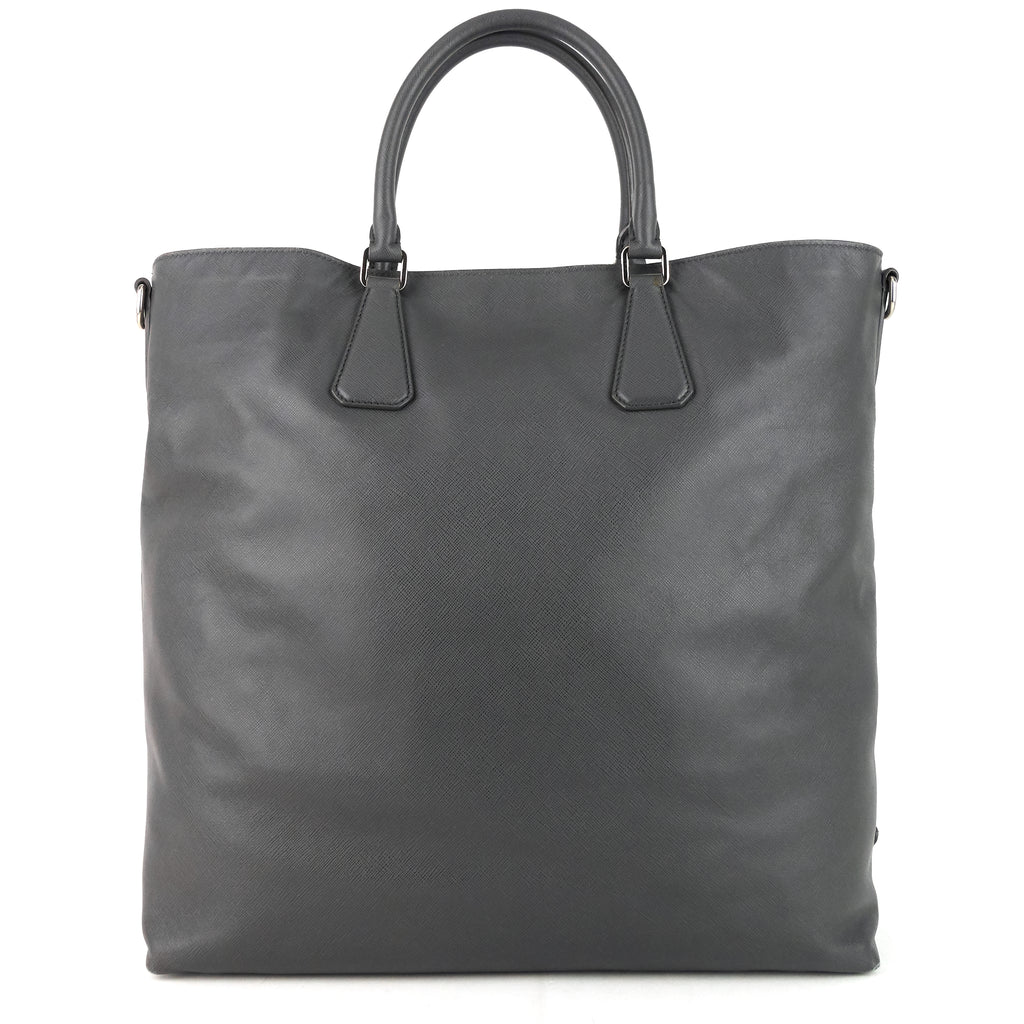 North South Saffiano Leather Open Tote Bag