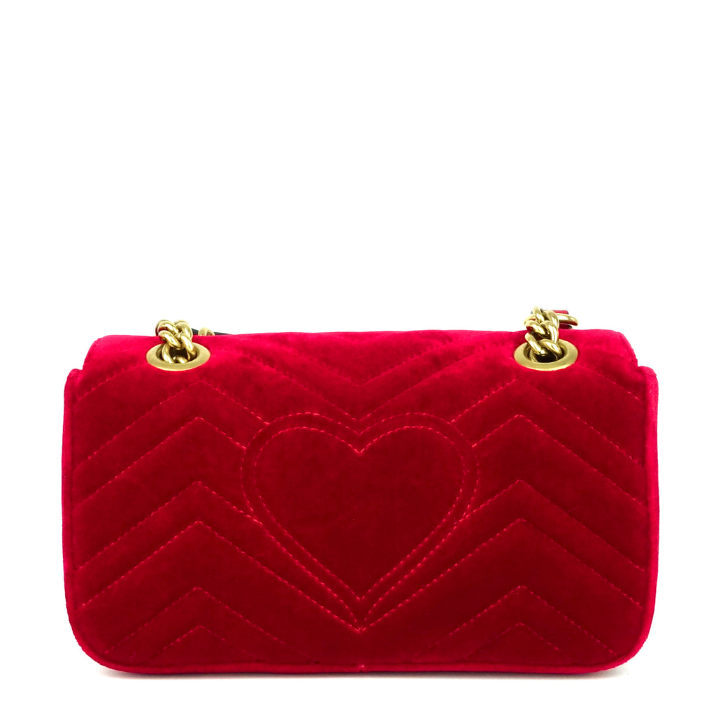 GG Marmont Mini Chevron Velvet Bag