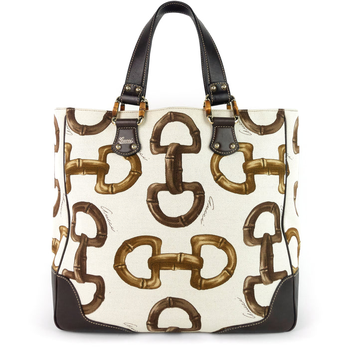 Bamboo Horsebit Print Canvas Tote Bag