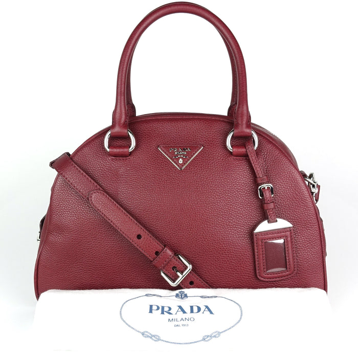 Dome Vitello Daino Leather Handbag