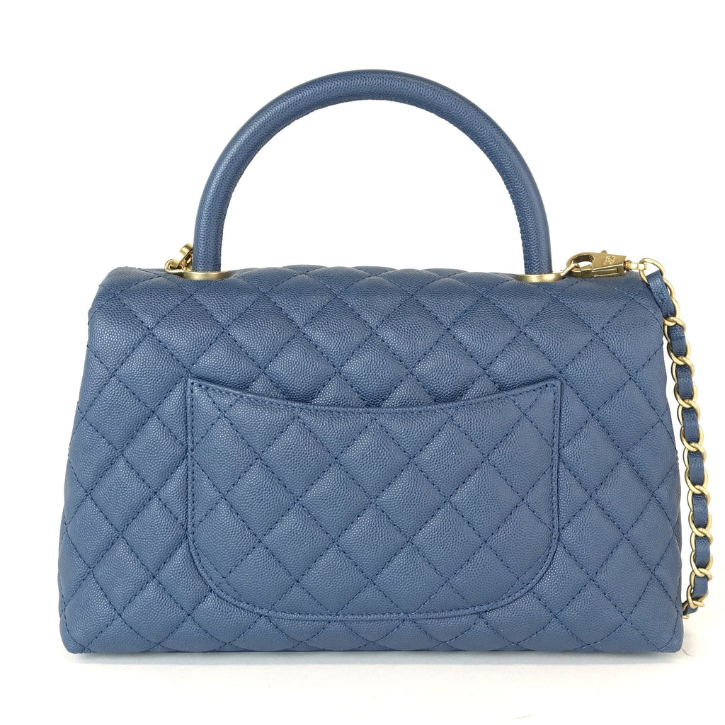 Coco Quilted Caviar Leather Handle Shoulder Bag