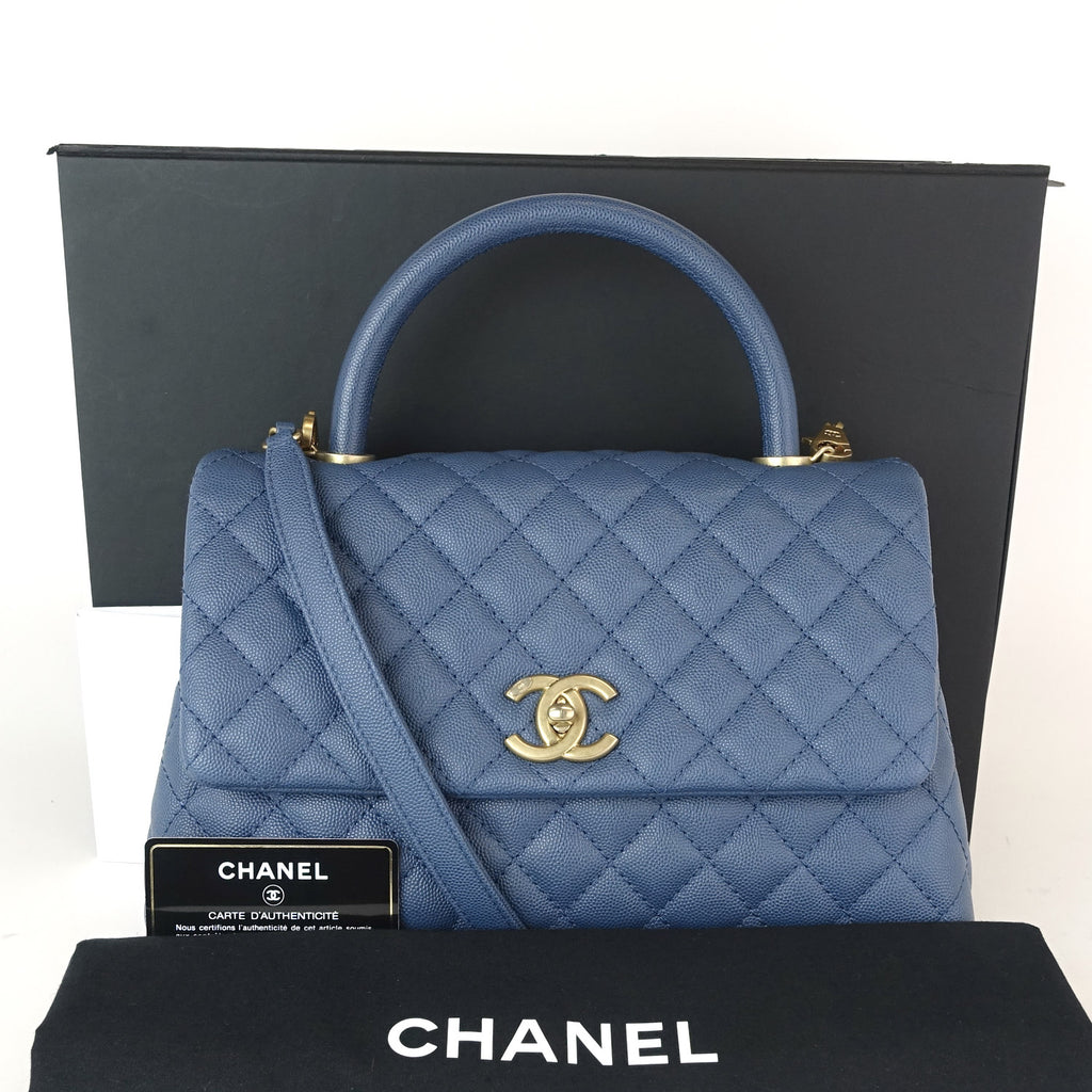 defe398b19e5 Chanel Coco Quilted Caviar Leather Handle Shoulder Bag – Poshbag Boutique