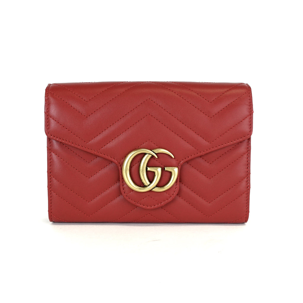 56ba416a975 Gucci Marmont GG Matelassé Leather Wallet on a Chain – Poshbag Boutique