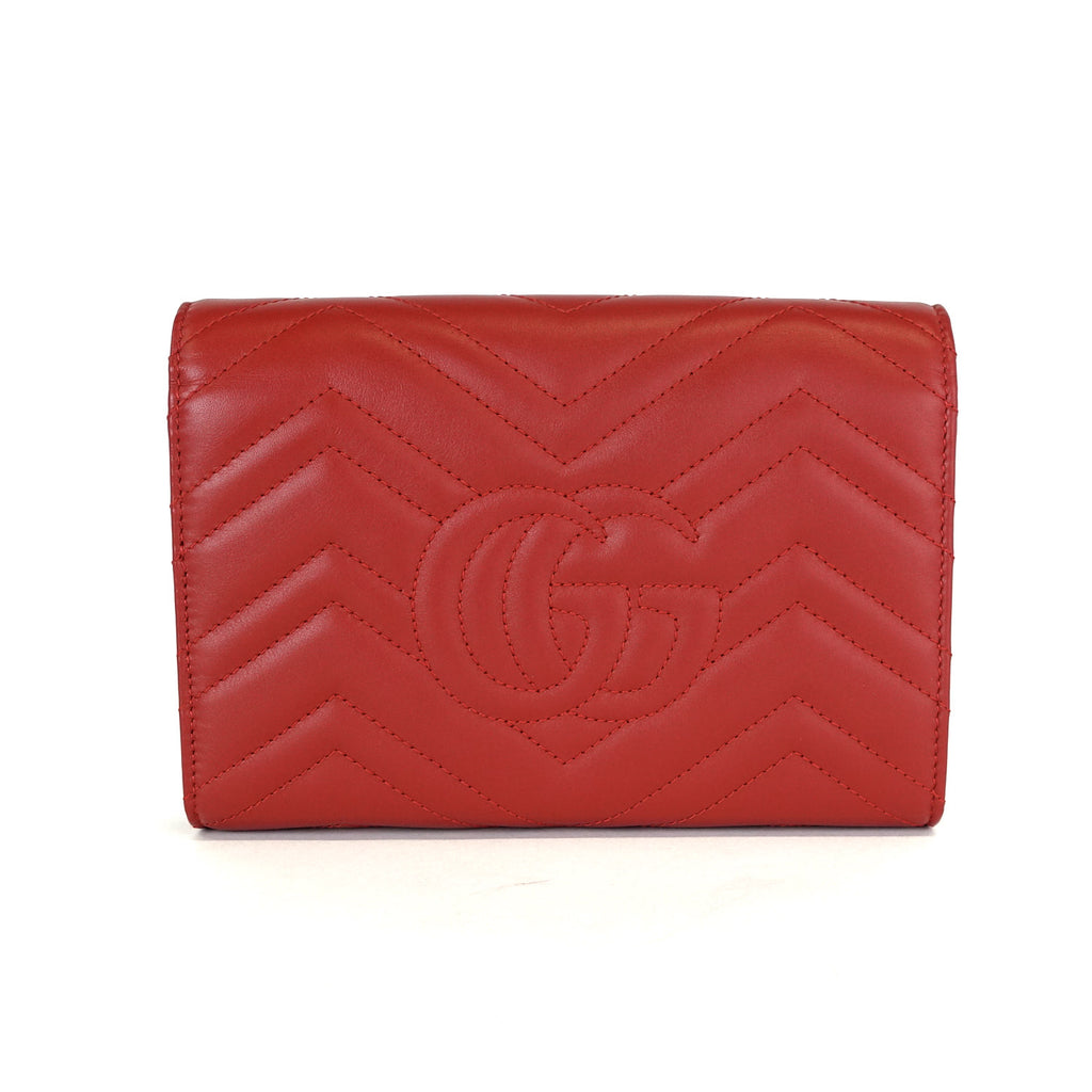 Marmont Matelasse Chevron Leather Wallet on Chain