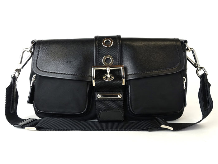 Tessuto Nylon and Leather Buckle Bag