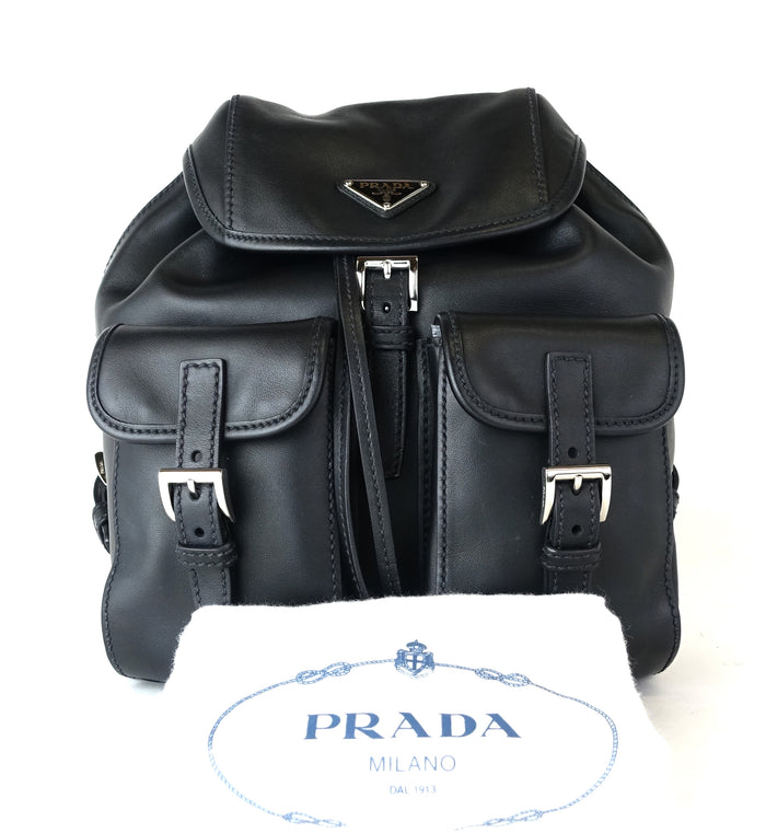 Smooth Calf Leather Triple Flap Backpack Bag