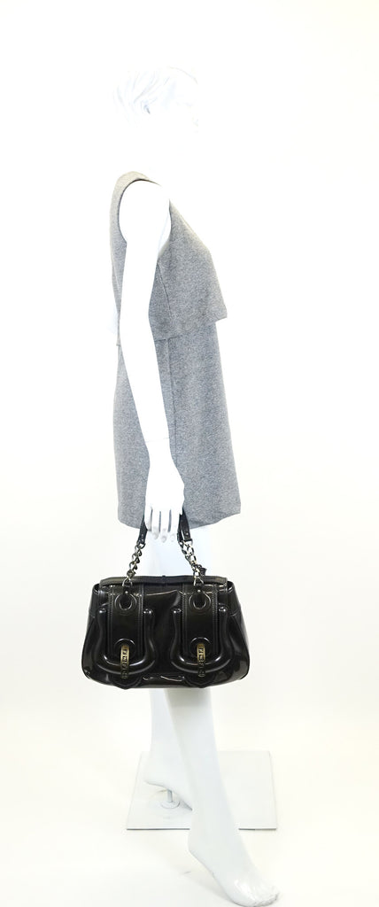 Double B Buckle Patent Leather Shoulder Bag