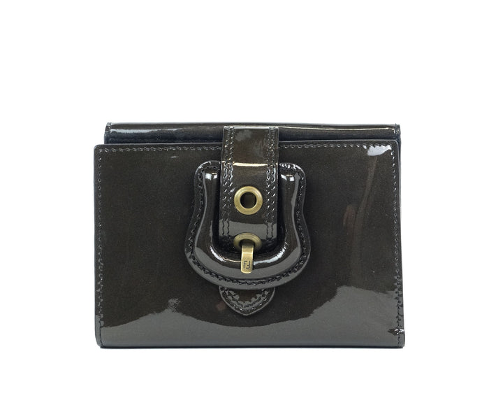 B Buckle Trifold Patent Leather Wallet