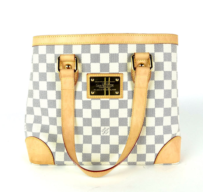 Hampstead PM Damier Azur Canvas Tote Bag