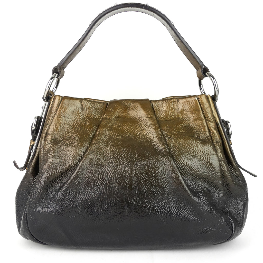 Ombre Gathered Coated Leather Handbag