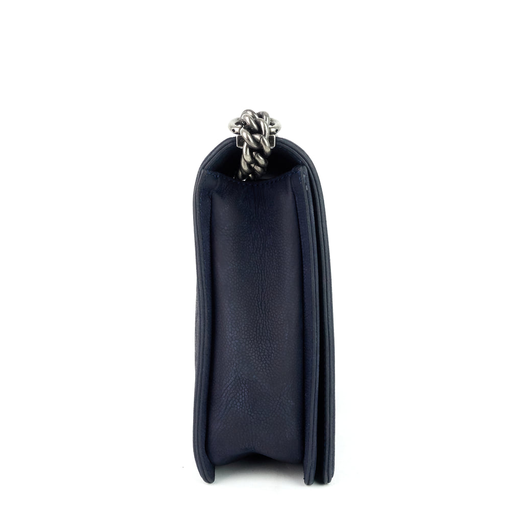 Large Boy Bull Suede Flap Bag