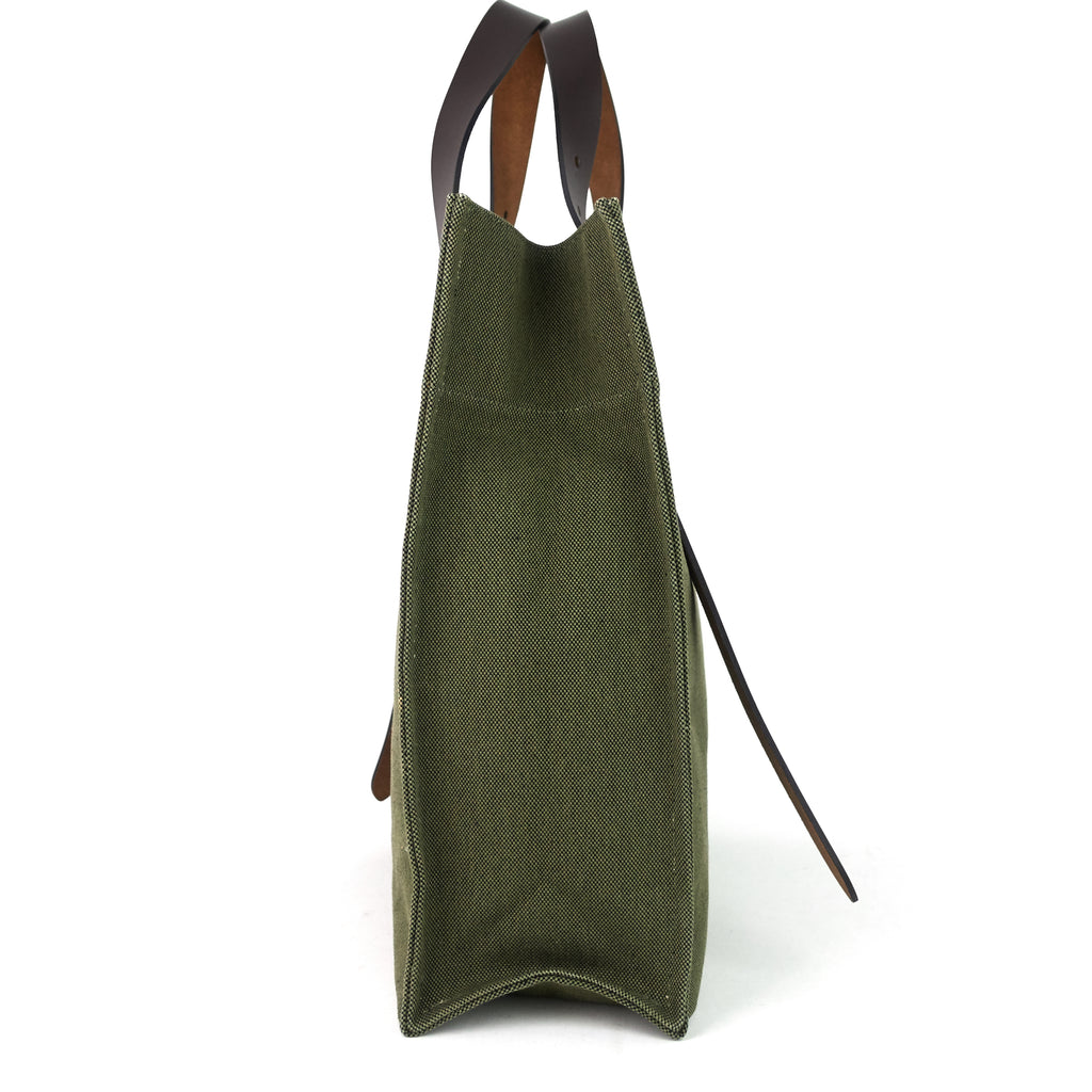 Etriviere Canvas and Vache Natural Leather Tote Bag