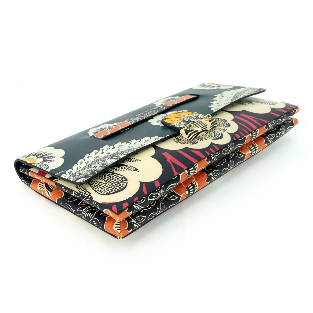 MIME Floral Print Leather Clutch Bag
