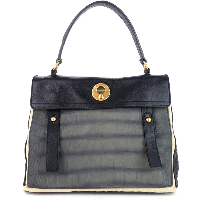 Muse Two-Tone Leather, Suede and Canvas Handbag