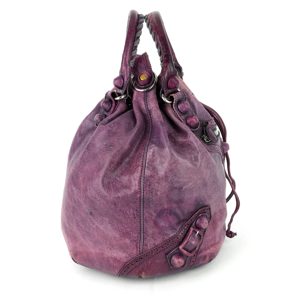 Pompon Giant Brogues Lambskin Leather Bag