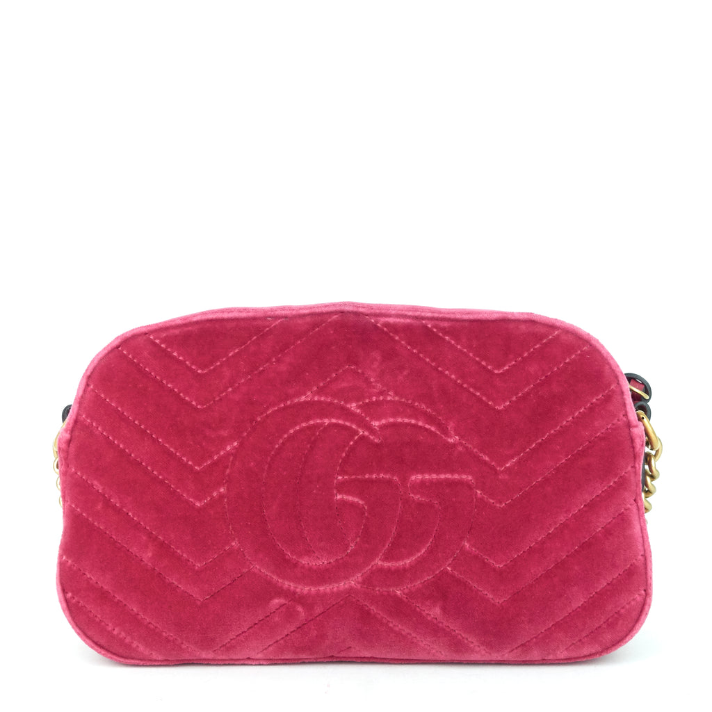 Marmont 2.0 Fuchsia Velvet Shoulder Bag