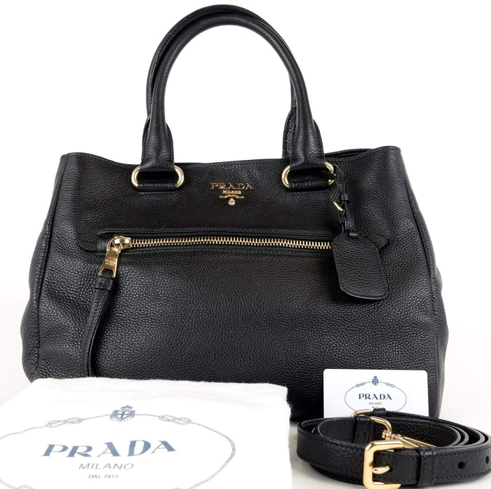 Vitello Daino Pebbled Leather Tote Bag