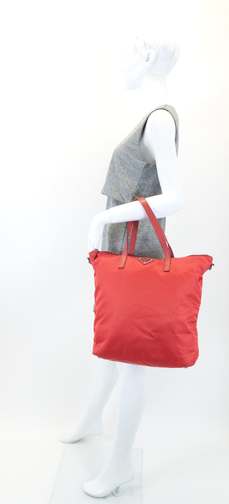Red Nylon Shopping Tote Bag