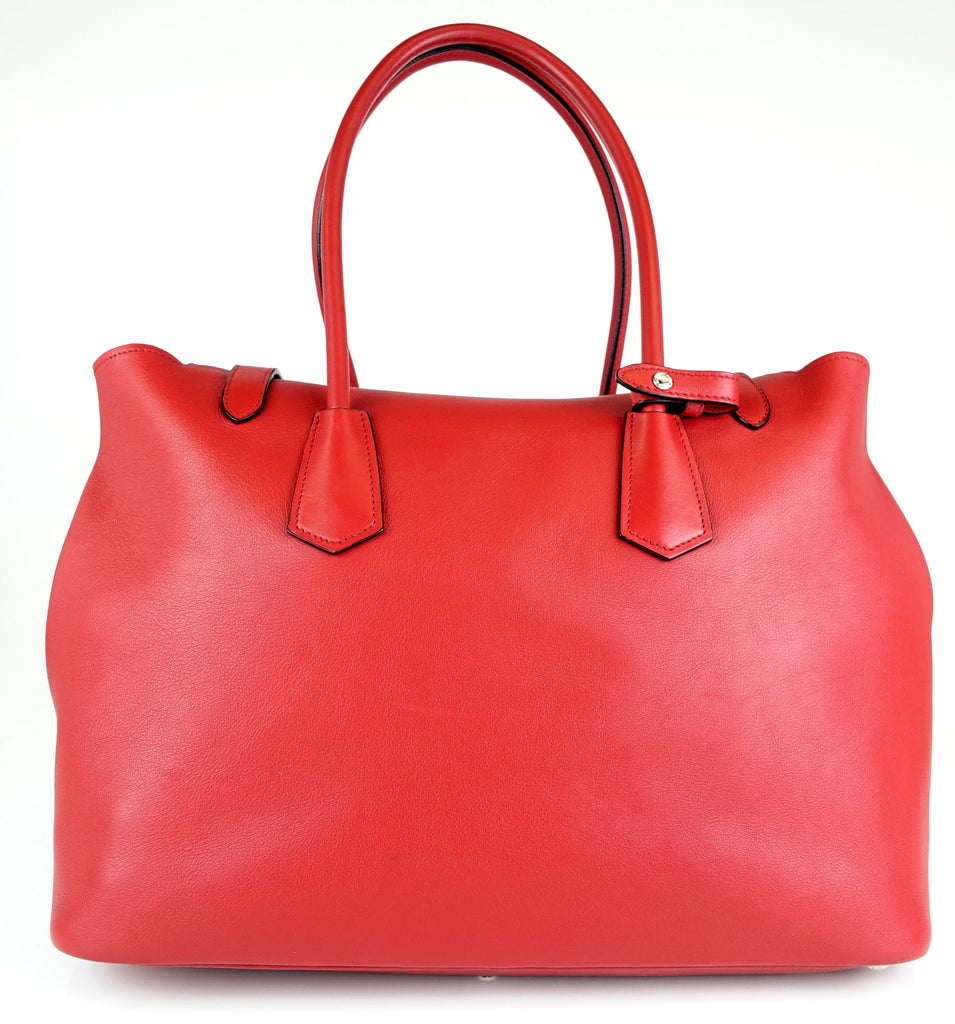 Calfskin Leather Buckle Tote Bag